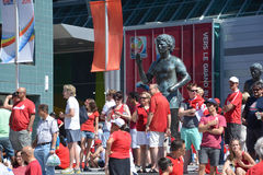 Canadian fans arrive to BC Place Stadium. VANCOUVER, CANADA - JUNE 27, 2015: Canadian fans arrive to BC Place Stadium for FIFA Women's World Cup Canada 2015 Royalty Free Stock Photography