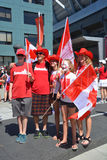 Canadian fans arrive to BC Place Stadium. VANCOUVER, CANADA - JUNE 27, 2015: Canadian fans arrive to BC Place Stadium for FIFA Women's World Cup Canada 2015 Royalty Free Stock Photos