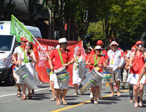 Canadian fans arrive to BC Place Stadium. VANCOUVER, CANADA - JUNE 27, 2015: Canadian fans arrive to BC Place Stadium for FIFA Women's World Cup Canada 2015 Royalty Free Stock Image