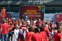 Canadian fans arrive to BC Place Stadium Stock Photos