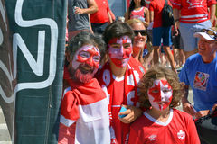 Canadian fans arrive to BC Place Stadium. VANCOUVER, CANADA - JUNE 27, 2015: Canadian fans arrive to BC Place Stadium for FIFA Women's World Cup Canada 2015 Royalty Free Stock Images