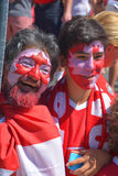 Canadian fans arrive to BC Place Stadium. VANCOUVER, CANADA - JUNE 27, 2015: Canadian fans arrive to BC Place Stadium for FIFA Women's World Cup Canada 2015 Stock Images