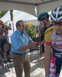 Canadian federal minister Denis LEBEL meeting with Christopher Froome Stock Photo