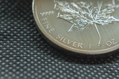 Canadian fine silver ounce. coin made of pure silver. royalty free stock photo