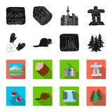 Canadian fir, beaver and other symbols of Canada.Canada set collection icons in black,flet style vector symbol stock. Illustration Royalty Free Stock Photo