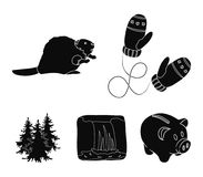 Canadian fir, beaver and other symbols of Canada.Canada set collection icons in black style vector symbol stock. Illustration Royalty Free Stock Images