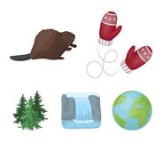 Canadian fir, beaver and other symbols of Canada.Canada set collection icons in cartoon style vector symbol stock. Illustration Stock Images