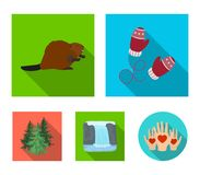 Canadian fir, beaver and other symbols of Canada.Canada set collection icons in flat style vector symbol stock. Illustration Stock Image