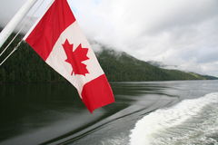 Canadian flag. Hanging on a boat Stock Image