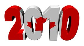 Canadian flag 2010 text. 3d render on white illustration Stock Illustration