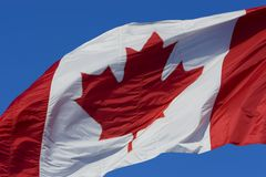 Canadian flag. Against clear blue sky Stock Images