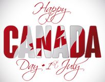 Canadian Flag behind Greetings for Canada Day in July 1, Vector Illustration. Poster with double exposure with Canadian flag behind greeting text to commemorate Royalty Free Stock Image
