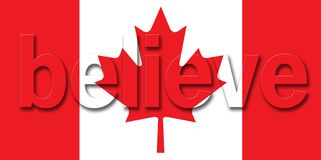 Canadian Flag believe. Canadian flag with the word believe on it for the 2010 Olympics in Canada Vector Illustration