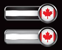 Canadian flag on checkered striped banners Stock Photography