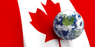 Canadian Flag & the Earth Royalty Free Stock Images