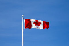 Canadian flag flying Royalty Free Stock Photography