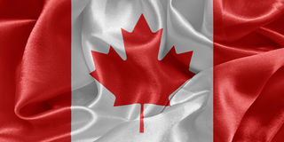 Canadian flag. Glossy satin background stock photo