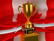 Canadian flag with gold cup Royalty Free Stock Photo