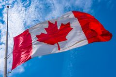 Canadian flag at half-staff , Toronto, Canada Royalty Free Stock Photo