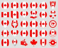 Canadian flag icons stock photos
