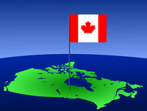Canadian flag on map Stock Photos