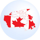 Canadian flag and map Royalty Free Stock Photography