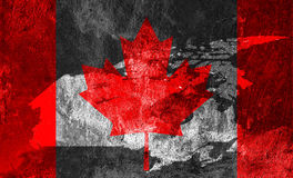 Canadian Flag and map of Canada. Royalty Free Stock Image
