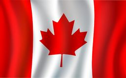 Canadian flag, maple leaf 3d symbol of Canada. Canadian flag, 3d symbol of Canada country. Maple leaf national banner, red and white canadian flag flying with Stock Photos