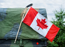 Canadian Flag on a Military Vehicle Stock Image