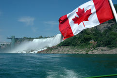 Canadian Flag at Niagara Falls Stock Photo