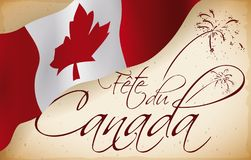 Canadian Flag over Scroll with Fireworks Drawings for Canada Day, Vector Illustration. Banner with a Canadian flag covering a scroll with greetings and drawing Stock Images