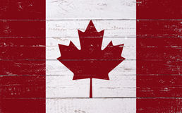 Canadian flag painted on a wooden board Royalty Free Stock Image