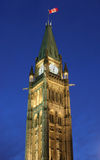 Canadian Flag and Parliament at dusk Stock Photography