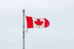 Canadian Flag on Pole Flapping in Wind Royalty Free Stock Photo