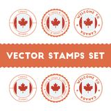 Canadian flag rubber stamps set. National flags grunge stamps. Country round badges collection Stock Photos