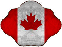 Canadian Flag on Section of Tree Trunk Stock Image