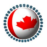 Canadian flag sphere with dollars Royalty Free Stock Images