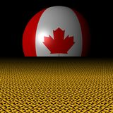 Canadian flag sphere and radioactive warning signs illustration. Canadian flag sphere and radioactive warning signs and black background 3d illustration stock illustration
