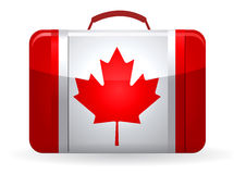 Canadian flag on a suitcase for travel Royalty Free Stock Image