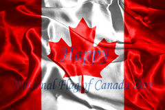 Canadian Flag With Text Happy National Flag Of Canada Day. 3D Rendering Stock Photography