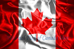 Canadian Flag With Text Happy National Flag Of Canada Day. 3D Rendering Royalty Free Stock Photo