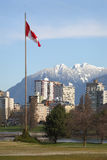 Canadian Flag, Vancouver Stock Image