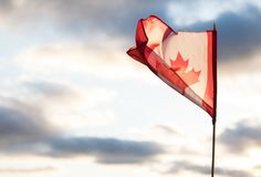Canadian flag waving stock photos