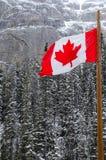 Canadian Flag waving over Banff National Park, Canada stock image