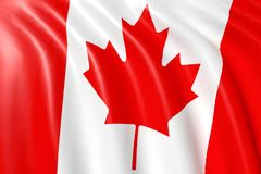 Canadian flag waving on wind. Canadian flag in white, green and red color waving on wind. Close up. 3D illustration and Rendering Royalty Free Stock Photo