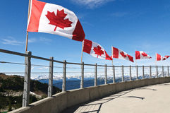Canadian Flags. At Whistler Mountain, BC Canada Royalty Free Stock Images