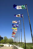 Canadian flags. Along the river valley in Edmonton, but could be any Canadian city stock photos