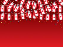 Canadian flags garland Red background with confetti. Hanging bunting for Canada Day celebration banner, Vector illustration Stock Photo