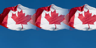 Canadian Flags over beautiful blue sky Royalty Free Stock Image