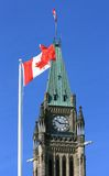 Canadian Flags and the Peace Tower Stock Photo
